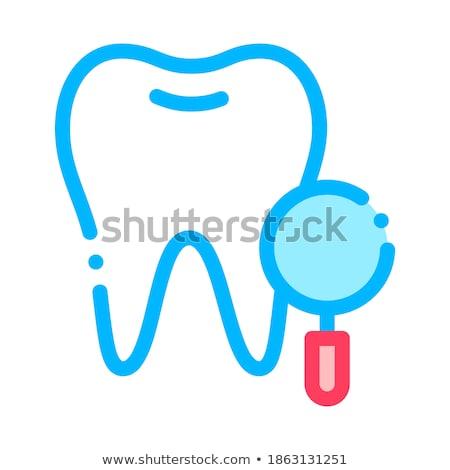 Dentysta zębów wektora podpisania ikona cienki Zdjęcia stock © pikepicture