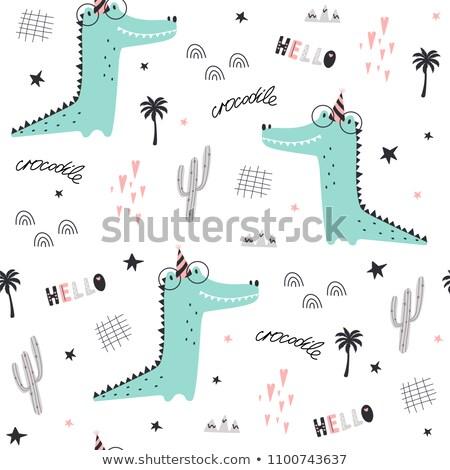 Stock photo: Happy Birthday - Cute Crocodile Print Design And Gift