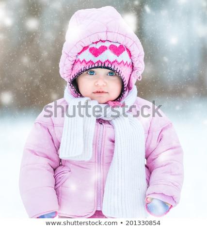 Meisje aankomst winter vader gelukkig kind Stockfoto © Lopolo