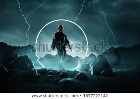 Futuristc Spaceman Arriving On A Hostile Planet Stock photo © solarseven