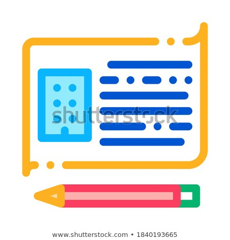 written building information model icon vector outline illustration Stock photo © pikepicture