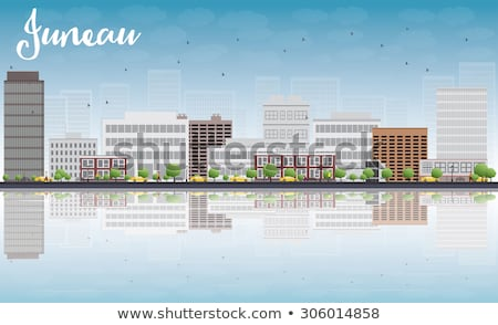 Alaska horizonte gris edificio cielo azul reflexiones Foto stock © ShustrikS