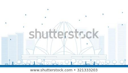 Schets lotus tempel new delhi Indië huis Stockfoto © ShustrikS