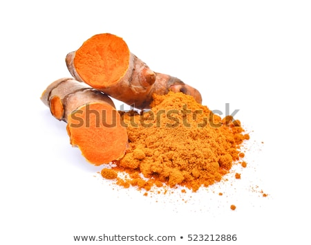 Turmeric root and turmeric powder on color wooden background Stock photo © galitskaya