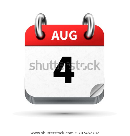Bright realistic icon of calendar with 4 august date isolated on white Stock photo © evgeny89