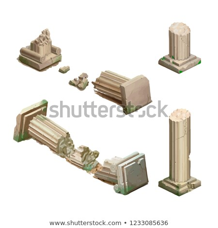 Bright cartoon ancient columns, isometric game object on white Stock photo © evgeny89