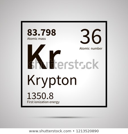 Krypton chemical element with first ionization energy and atomic mass values ,simple black icon with Stock photo © evgeny89