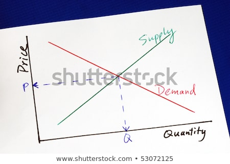 Supply And Demand Curves Isolated On Blue Stok fotoğraf © JohnKwan