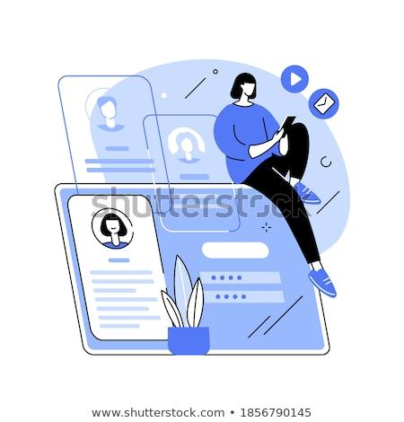 Foto stock: Pessoal · informação · forma · isolado · azul · papel