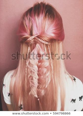 Cute bellezza donna rosa parrucchiere isolato Foto d'archivio © lordalea