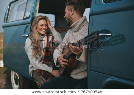 jovem · homem · bonito · guitarra · modelo · estudante · retrato - foto stock © elmiko