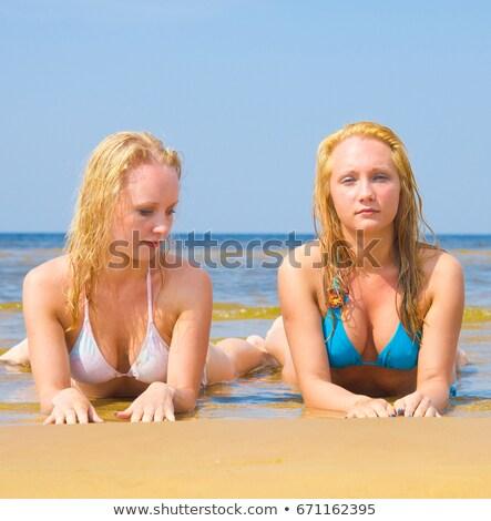 Gyönyörű barna hajú nő topless bikini kalap Stock fotó © pekour