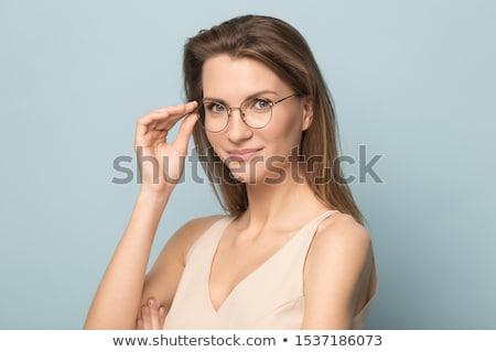 közelkép · portré · csinos · kaukázusi · nő · visel - stock fotó © hasloo