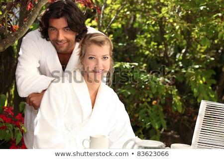 Coppia indossare bagno felice ritratto buio Foto d'archivio © photography33