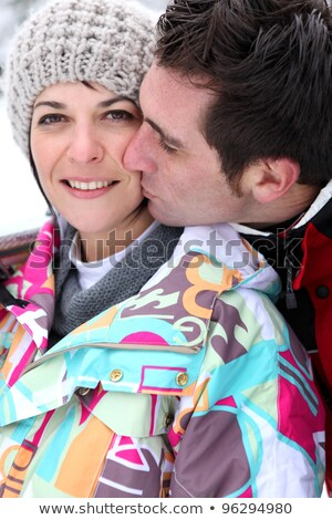 Affetto Coppia neve natura bacio giovani Foto d'archivio © photography33