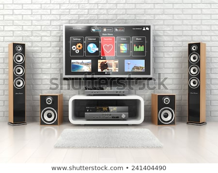 Photo stock: Home Theater System With Tv And Speakers