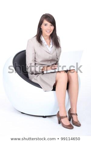 スマート 若い女性 座って ファンキー 椅子 作業 ストックフォト © photography33