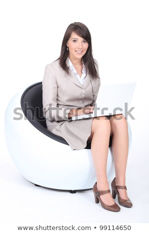 mujer · sesión · ortopédico · silla · vertical · sonrisa - foto stock © photography33