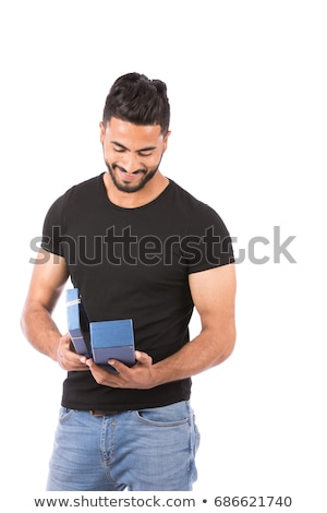 Latin spanish man portrait open black shirt Stock photo © lunamarina