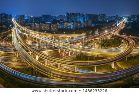 Large urban highway viaduct light trails night scene Stock photo © Artphoto