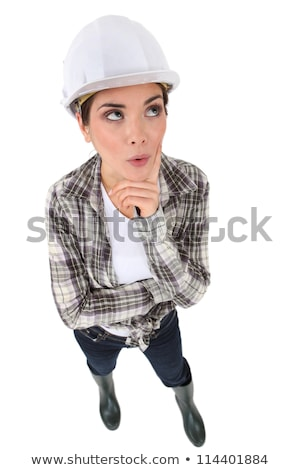 woman in a hardhat deliberating a problem stock photo © photography33