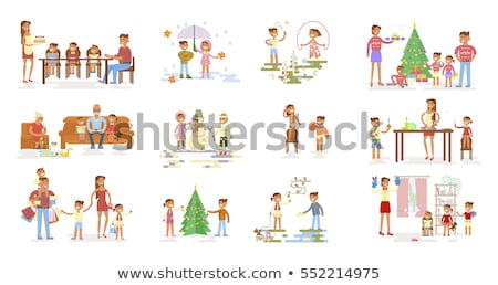 Little girl playing outside at Christmastime Stock photo © photography33