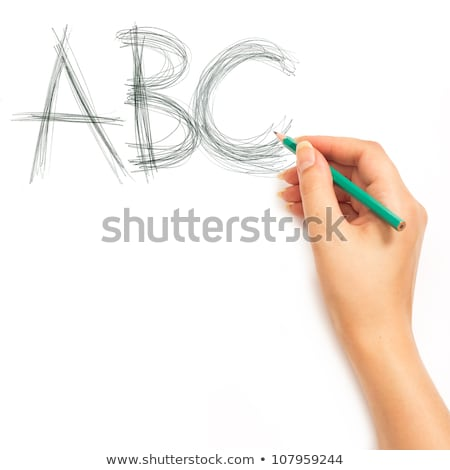 kéz · tart · ceruza · ír · ábécé · fehér - stock fotó © vlad_star