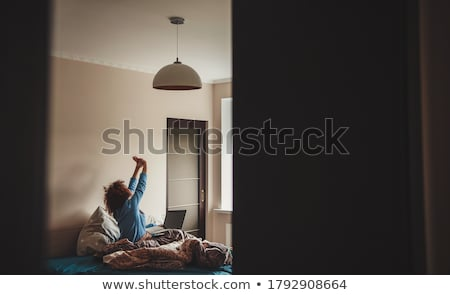 Couché femme sous-vêtements jeunes seuls Photo stock © phbcz