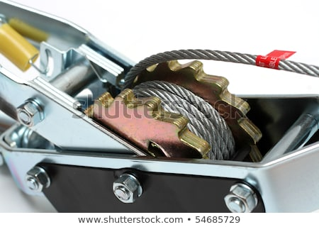 steel rope on spool with ratchet stock photo © mikko