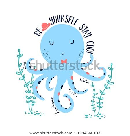 ヴィンテージ かわいい タコ 水 魚 海 ストックフォト © juliakuz