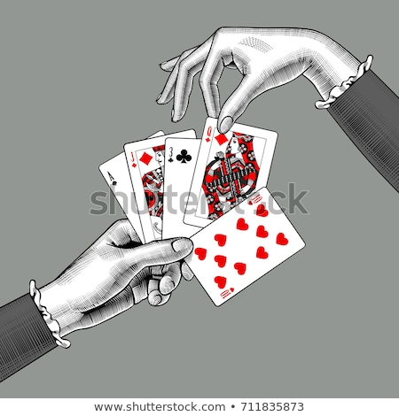 Vintage coeurs ace poker cartes à jouer coeur Photo stock © carodi