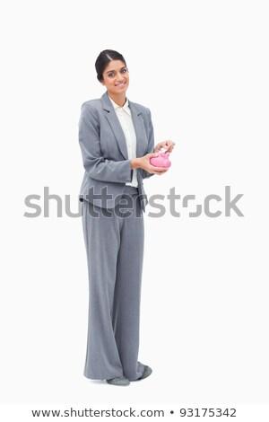 gülen · kadın · bankacı · para · kumbara · beyaz - stok fotoğraf © wavebreak_media