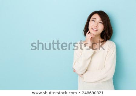 Asya kadın düşünme yüz portre genç Stok fotoğraf © myimagine