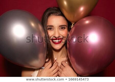 Morena lábios vermelhos longo cabelo castanho sensual feminino Foto stock © wavebreak_media