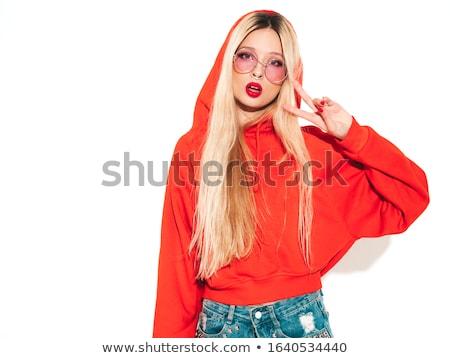 sexy · jonge · dame · poseren · Rood · rok - stockfoto © acidgrey