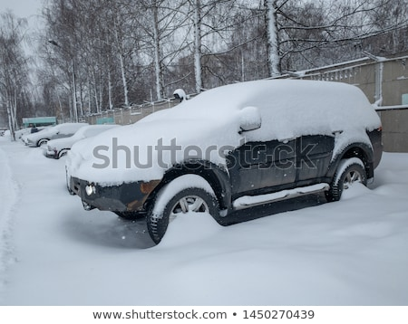 Foto stock: Carro · coberto · neve · inverno · estrada · céu