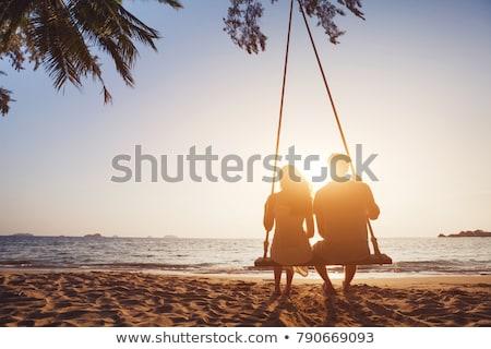 ストックフォト: ロマンチックな · カップル · 熱帯ビーチ · フィリピン · 女性 · 空