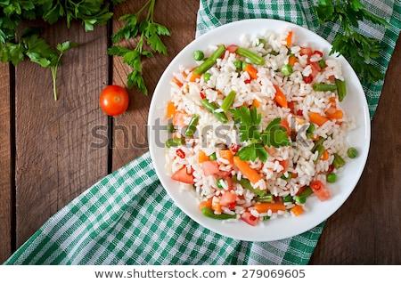 Stok fotoğraf: Pirinç · salata · bileşen · akşam · yemeği · limon · domates