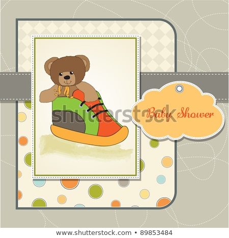 Stok fotoğraf: Shower Card With Teddy Bear Hidden In A Shoe