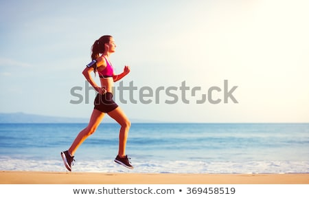 Stockfoto: Jogging · atleet · vrouw · lopen · zon · zonsondergang