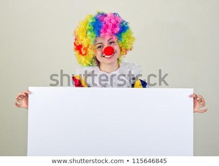 kobieta · posiedzenia · billboard · podpisania · cute - zdjęcia stock © smithore
