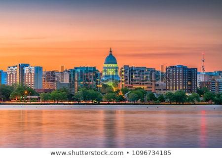 Skyline Wisconsin nacht steden lichten Stockfoto © soupstock