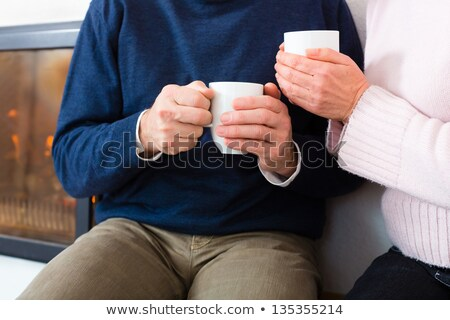Seniors at home in front of fireplace with tea cup stock photo © Kzenon