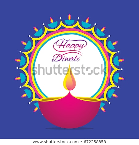 Stock photo: Beautiful decoration blue colorful background Diwali diya celebr