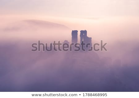 Stock photo: Sunset over the hills at Corfe Castle