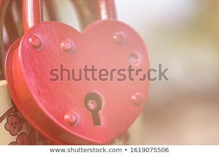 Asma kilit sevmek köprü simge mavi anahtar Stok fotoğraf © artlens