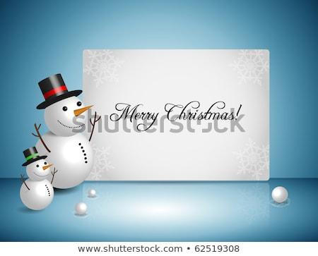 pocztówkę · śnieg · cute · snowman · śniegu · narciarskie - zdjęcia stock © marimorena