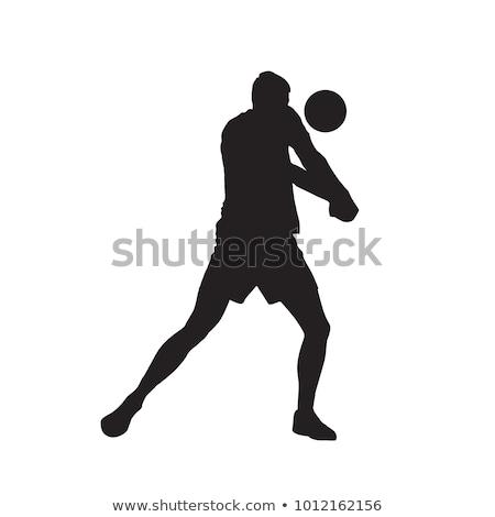 люди силуэта играет волейбол Cut небольшой Сток-фото © jeancliclac