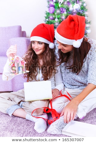 fogad · ajándék · mikulás · portré · aranyos · kislány - stock fotó © hasloo