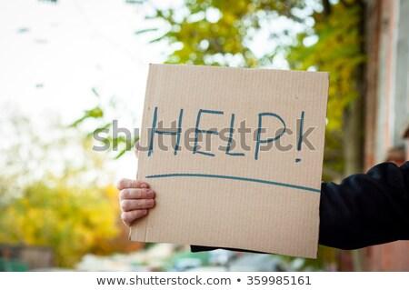 Homem cartão papel necessidade trabalho Foto stock © stevanovicigor